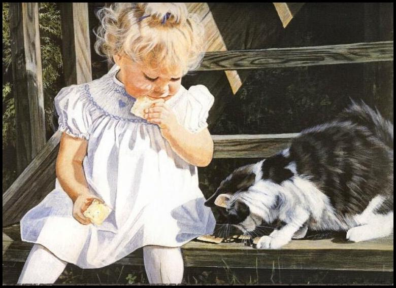 Assez fillette et chat PJ24
